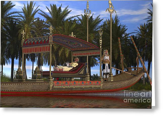 Pharaoh Digital Art Greeting Cards - Egyptian Woman and Boat Greeting Card by Corey Ford