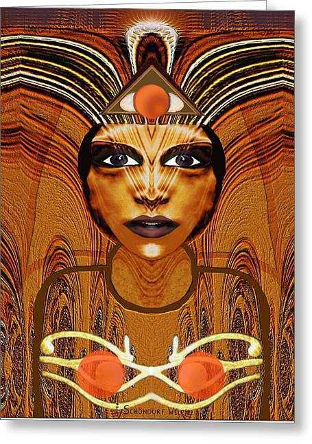 Relief Print Greeting Cards - 055 - Egyptian Woman Warrior Magic   Greeting Card by Irmgard Schoendorf Welch