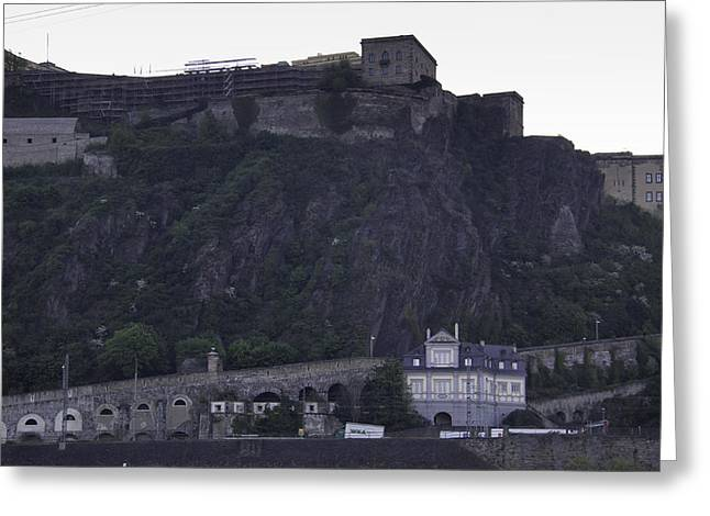 Confluence Greeting Cards - Ehrenbreitstein Fortress at Dawn Greeting Card by Teresa Mucha