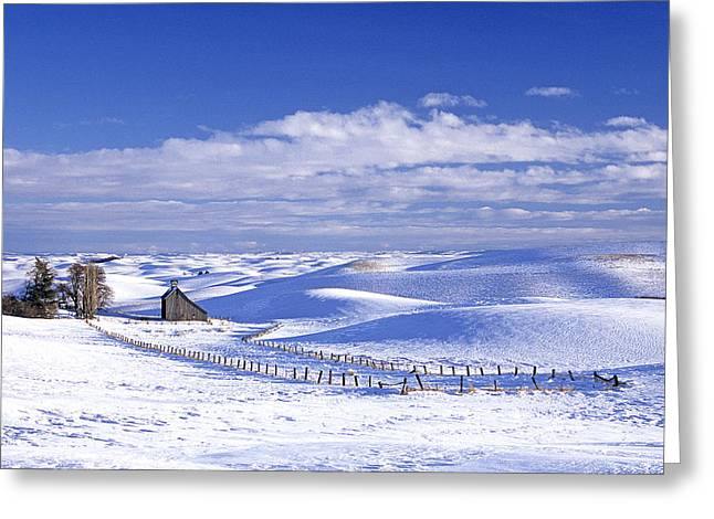 Usa Photographs Greeting Cards - Eid Rd Barn Winter Greeting Card by Latah Trail Foundation