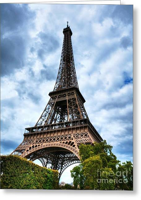Paris In Blue Greeting Cards - Eiffel Tower In Paris Greeting Card by Mel Steinhauer