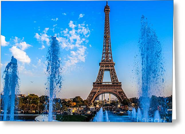 Paris Trees Nature Scenes Greeting Cards - Eiffel and Fountains Greeting Card by Remi D Photography