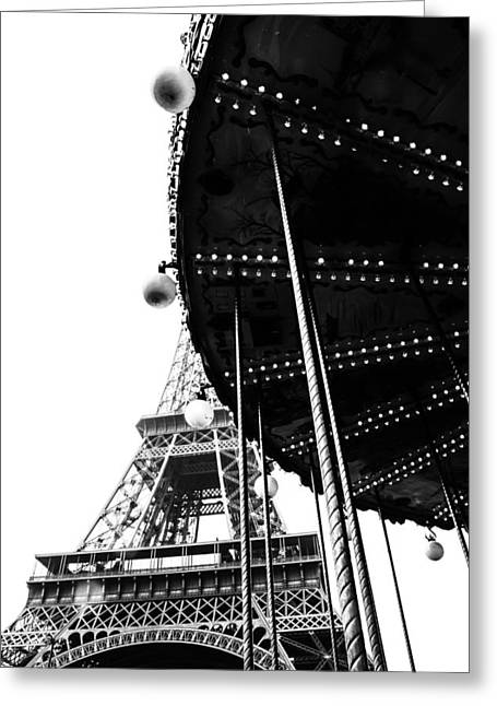Whirligig Greeting Cards - Eiffel and Ride in Mono Greeting Card by Nomad Art And  Design