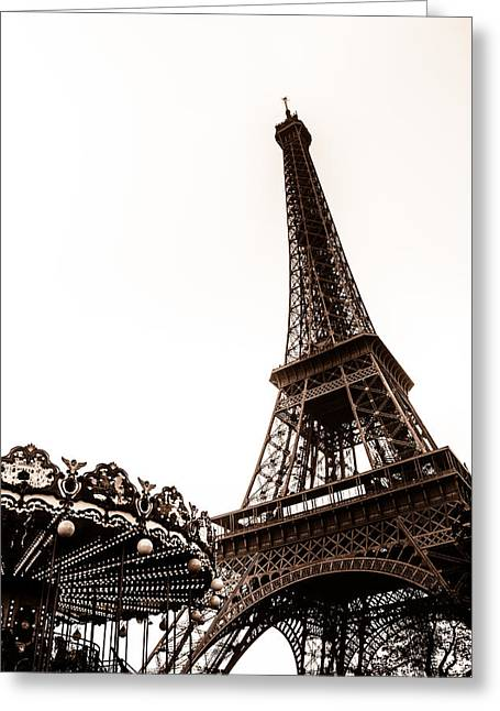 Whirligig Greeting Cards - Eiffel Carousel Toned Greeting Card by Nomad Art And  Design