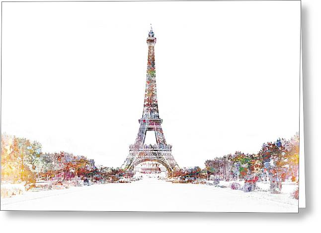 Modernist Greeting Cards - Eiffel Color Splash Greeting Card by Aimee Stewart