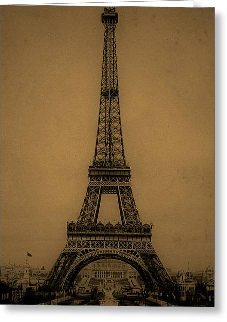 Vintage Eiffel Tower Greeting Cards - Eiffel Tower 1889 Greeting Card by Andrew Fare