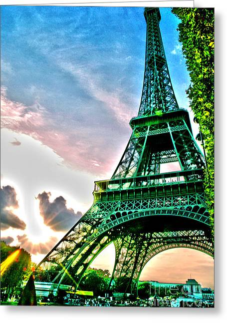 Steel. Grass Greeting Cards - Eiffel Tower 8 Greeting Card by Micah May