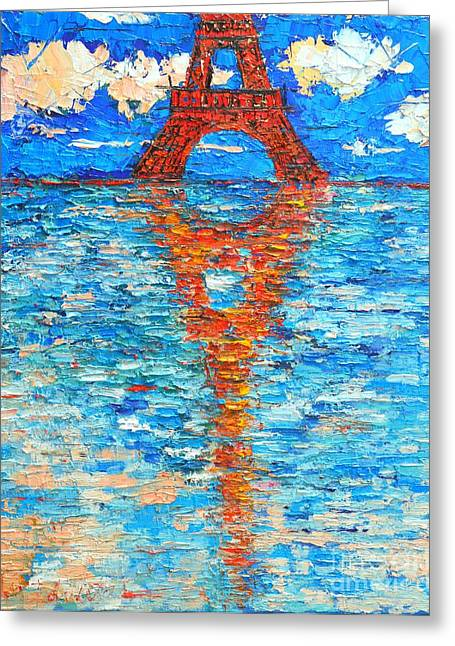 Abstract Expression Greeting Cards - Eiffel Tower Abstract Impression Greeting Card by Ana Maria Edulescu