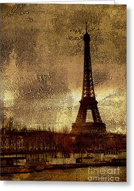 Layers Greeting Cards - Eiffel Tower Abstract Impressionistic Painting-Photograph Greeting Card by Kathy Fornal
