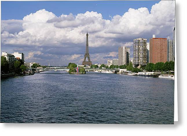 Towering Tree Greeting Cards - Eiffel Tower Across Seine River, Paris Greeting Card by Panoramic Images