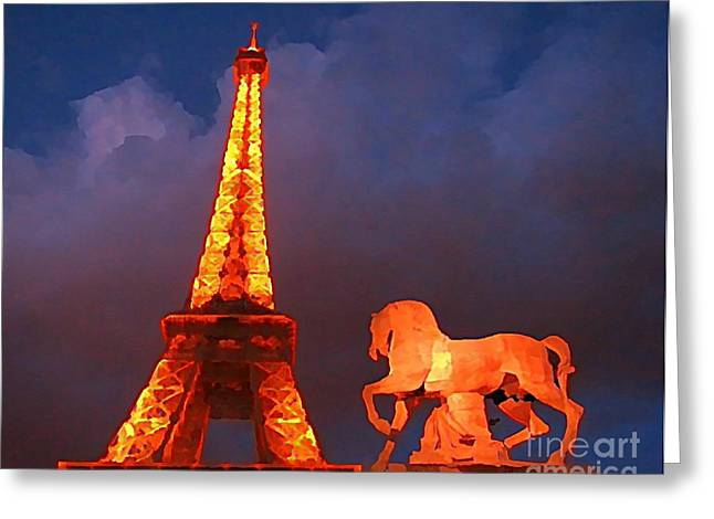 John Malone Artist Greeting Cards - Eiffel Tower and Horse Greeting Card by John Malone