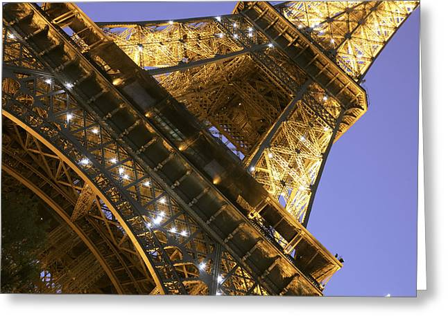 Lunar Crescent Greeting Cards - Eiffel Tower and Purple Sky Greeting Card by Heidi Hermes