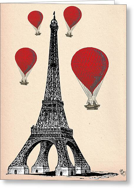 Balloon Art Print Greeting Cards - Eiffel Tower and Red Hot Air Balloons Greeting Card by Kelly McLaughlan