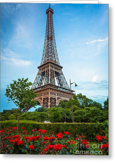 Rose Tower Greeting Cards - Eiffel Tower and Red Roses Greeting Card by Inge Johnsson