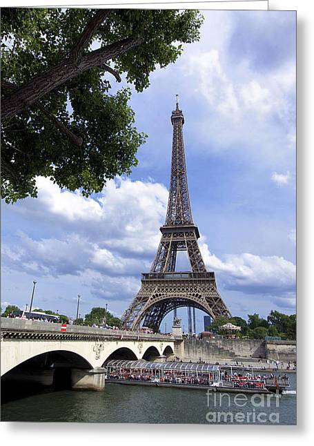 Famous Bridge Photographs Greeting Cards - Eiffel tower and river Seine. Paris. France Greeting Card by Bernard Jaubert
