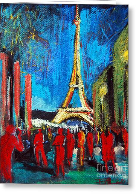 White Cloth Greeting Cards - Eiffel Tower And The Red Visitors Greeting Card by Mona Edulesco
