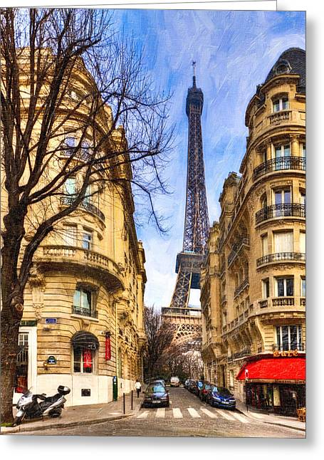 Paris In Blue Greeting Cards - Eiffel Tower and the Streets of Paris Greeting Card by Mark Tisdale