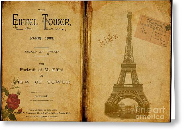 Becky Digital Art Greeting Cards - Eiffel Tower Antique Book Greeting Card by Becky Hayes