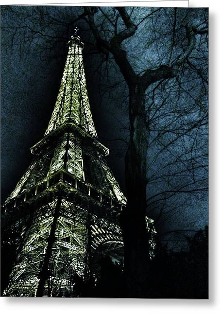 High Up Greeting Cards - Eiffel Tower at Moonlight Greeting Card by Marianna Mills