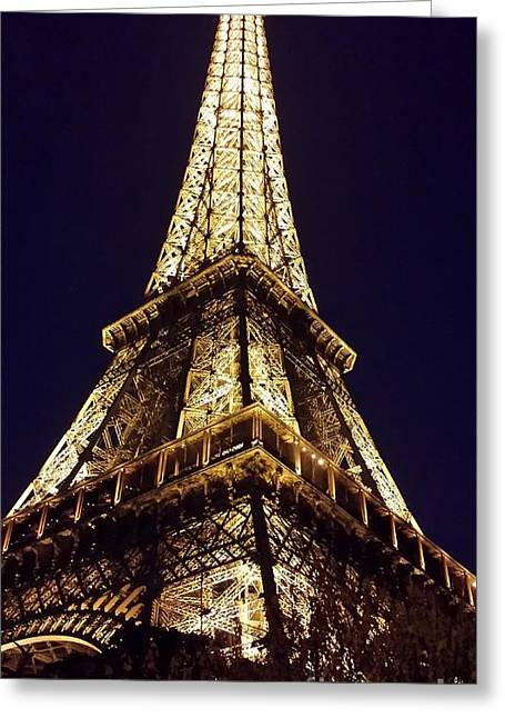 Colossal Greeting Cards - Eiffel Tower at Night Greeting Card by Patricia Awapara