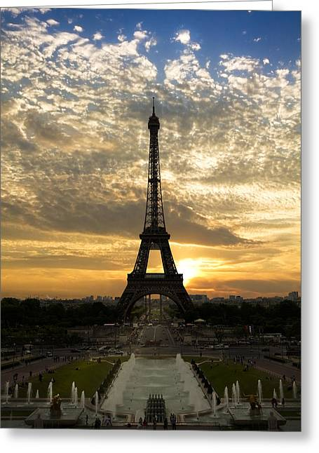 Iconic Places Greeting Cards - Eiffel Tower at Sunset Greeting Card by Debra and Dave Vanderlaan