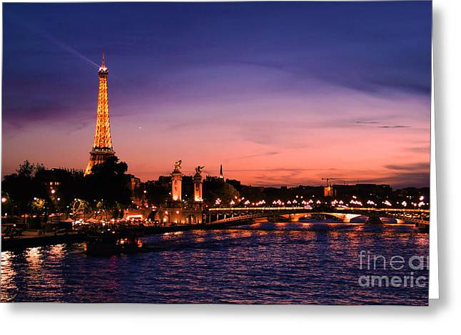 Eifel-tower Greeting Cards - Eiffel Tower at Sunset Greeting Card by Phill Petrovic