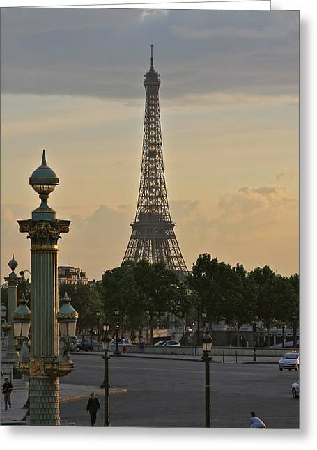 Gloaming Greeting Cards - Eiffel Tower at Twilight Greeting Card by Maureen J Haldeman