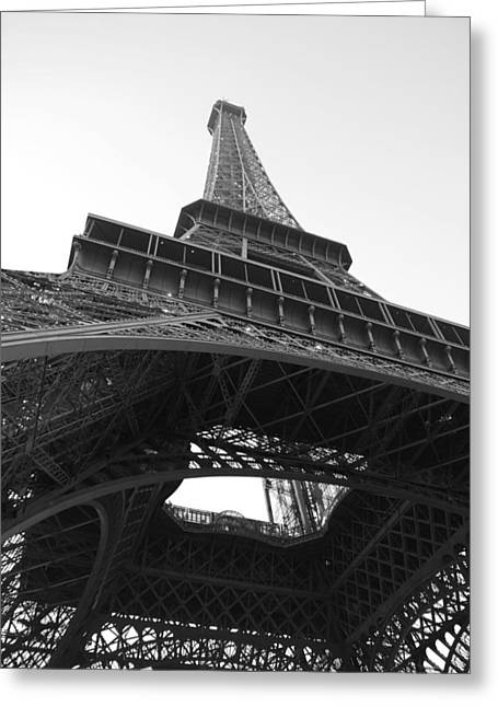 Paris Greeting Cards - Eiffel Tower b/w Greeting Card by Jennifer Lyon