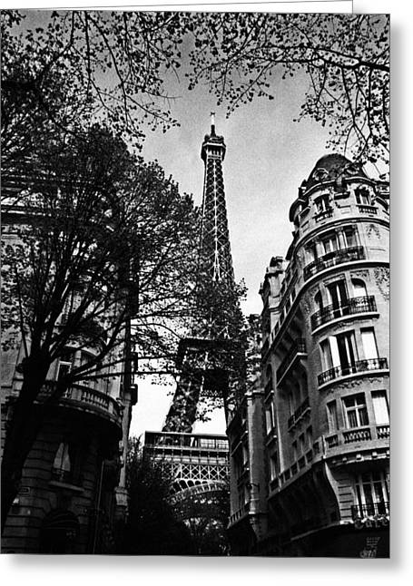 White Greeting Cards - Eiffel Tower Black and White Greeting Card by Andrew Fare