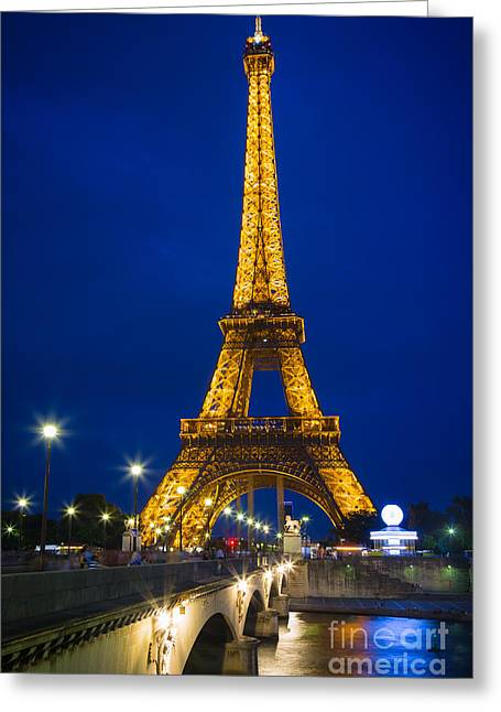 Eiffel Tower By Night Greeting Card by Inge Johnsson
