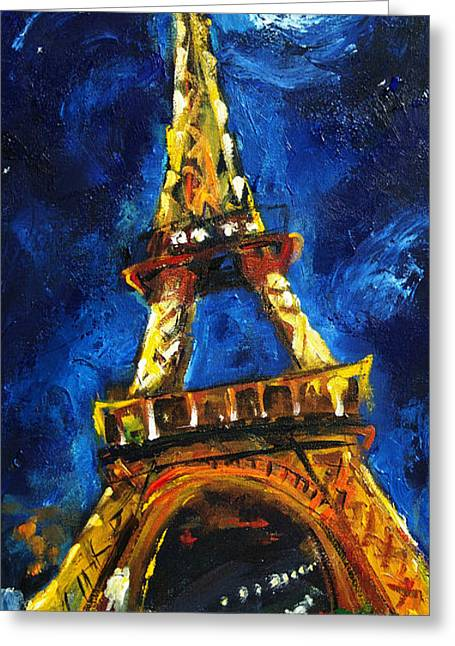 Night Scenes Greeting Cards - Eiffel Tower Greeting Card by Carole Foret