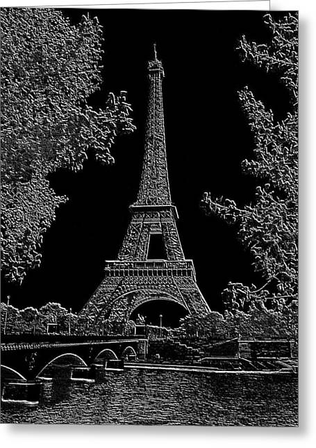 Wine Tour Mixed Media Greeting Cards - Eiffel Tower Charcoal Negative Image Dark Greeting Card by L Brown