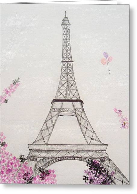Eiffel Tower  Greeting Card by Christine Corretti