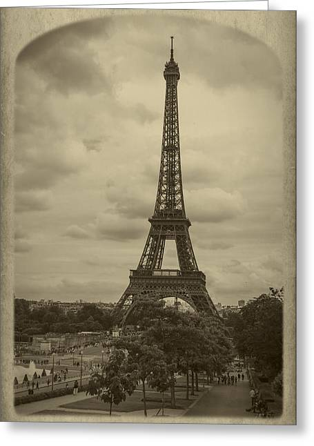Champs Greeting Cards - Eiffel Tower Greeting Card by Debra and Dave Vanderlaan