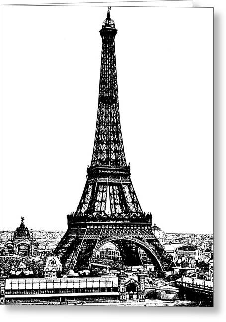 Eifel-tower Greeting Cards - Eiffel Tower Drawing 19th Century Greeting Card by