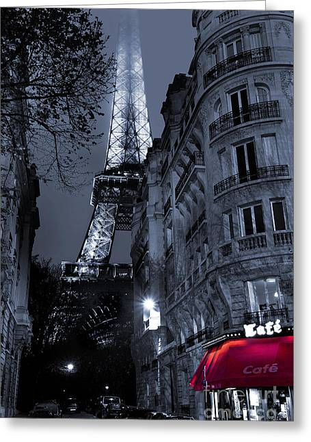 Black And White Paris Greeting Cards - Eiffel Tower from a Side Street Greeting Card by Simon Kayne