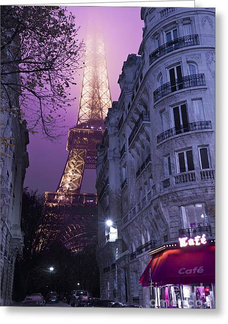 Night Cafe Photographs Greeting Cards - Eiffel Tower from a Side Street Greeting Card by Simon Kayne