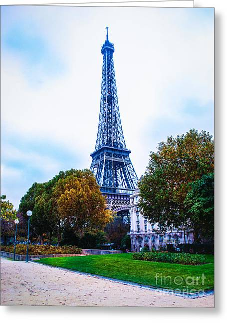 Paris Trees Nature Scenes Greeting Cards - Eiffel Tower Garden  Greeting Card by Remi D Photography