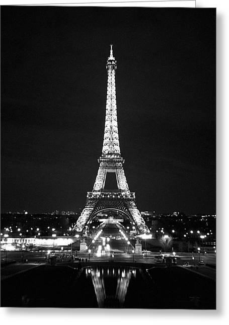 City Lights Greeting Cards - Eiffel Tower in black and white Greeting Card by Heidi Hermes