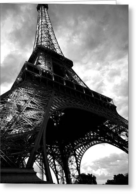 Storm Prints Digital Art Greeting Cards - Eiffel Tower in Black and White. Ominous sky overhead Greeting Card by Toby McGuire