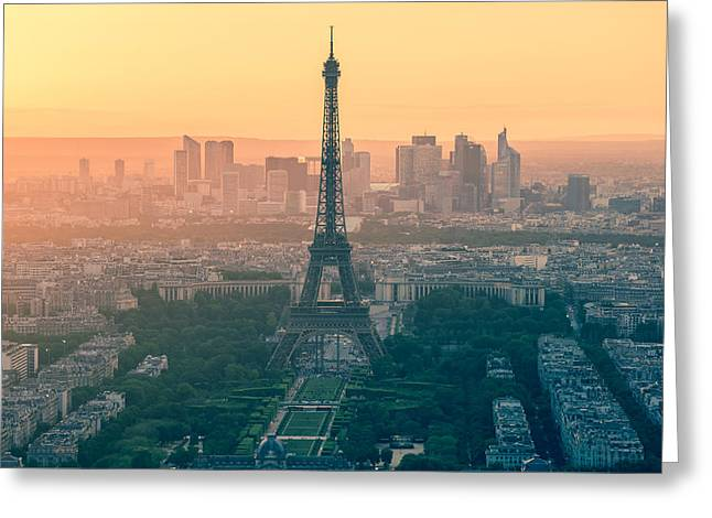 Paris Trees Nature Scenes Greeting Cards - Eiffel Tower in Paris France Greeting Card by Nattee Chalermtiragool