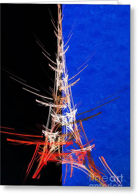 Eiffel Tower Mixed Media Greeting Cards - Eiffel Tower In Red On Blue  Abstract  Greeting Card by Andee Design