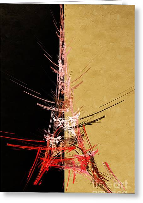 Eiffel Tower Mixed Media Greeting Cards - Eiffel Tower In Red ON Gold  Abstract  Greeting Card by Andee Design