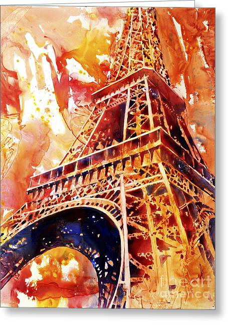 Art Reproduction Greeting Cards - Eiffel Tower in Red Greeting Card by Ryan Fox