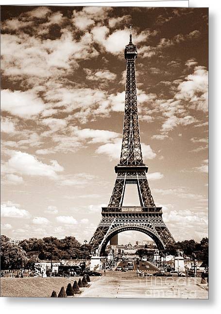 Signature Photographs Greeting Cards - Eiffel tower in sepia Greeting Card by Elena Elisseeva