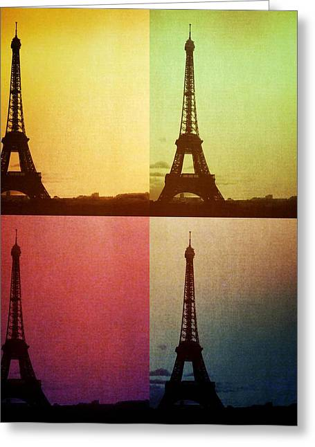 Dream Scape Greeting Cards - Eiffel Tower in Sunset Greeting Card by Marianna Mills