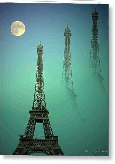 Spacial Greeting Cards - Eiffel Tower Greeting Card by Joyce Dickens