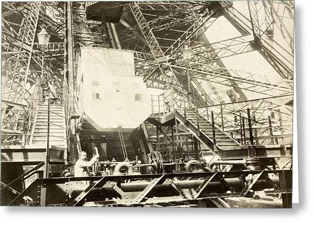 Eiffel Tower lift machinery, 1889 Greeting Card by Science Photo Library