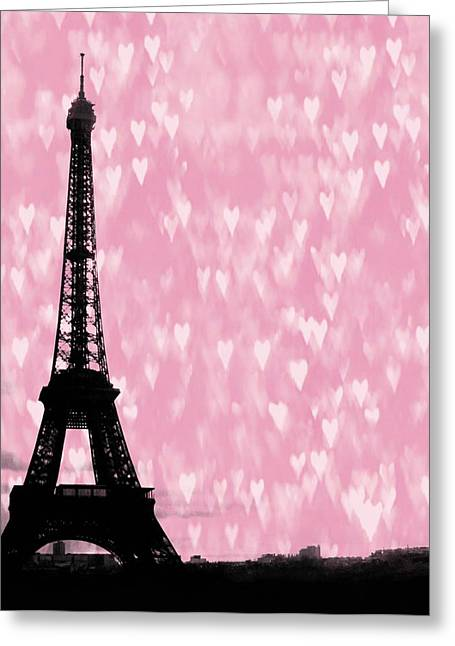 City Skylines Greeting Cards Greeting Cards - Eiffel Tower - Love in Paris Greeting Card by Marianna Mills
