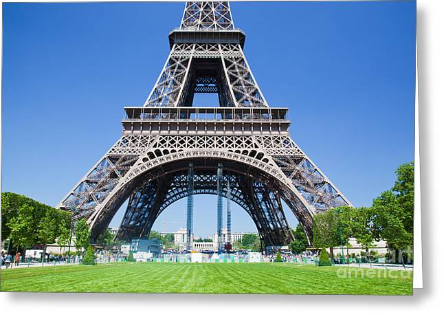 Champs Greeting Cards - Eiffel Tower lower part Paris Greeting Card by Michal Bednarek
